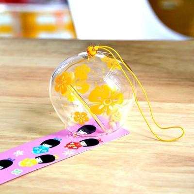Фурин - Японский ветряной колокольчик из стекла  с желтыми цветами . Маленький: диаметр - 7см. Купить в Москве.
